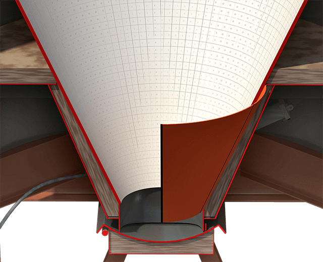 """Astec's Steep 66˚ angled cones allow mix to move  by """"mass flow"""", helping prevent mix build-up  on silo walls."""