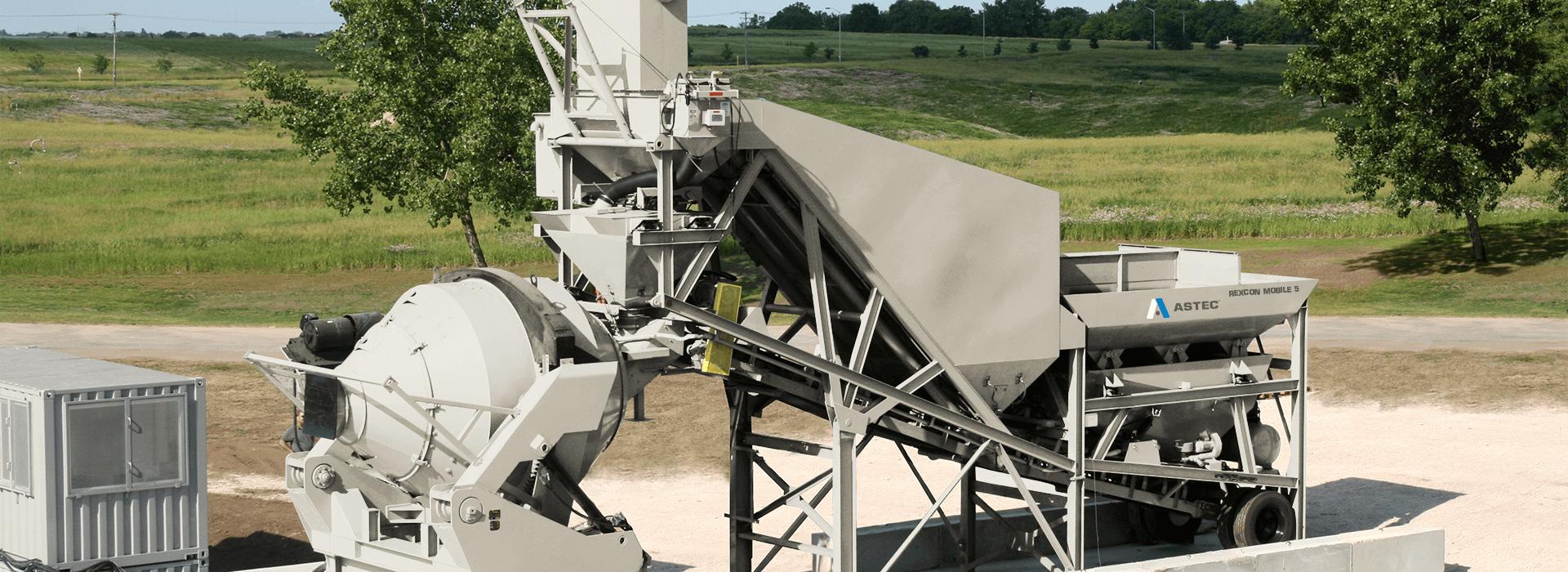 Astec RexCon Mobile 5 Self-Erecting Central Mix Concrete Batch Plant