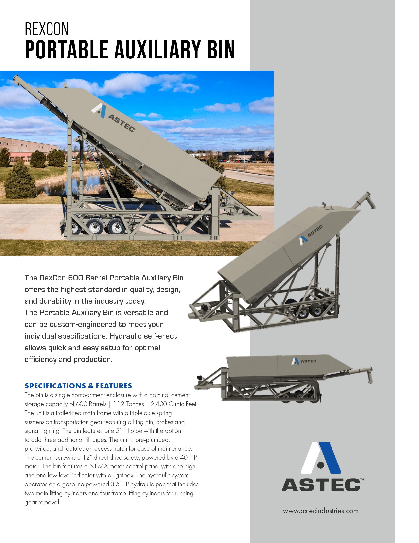Astec RexCon 600 BBL SE Silo Concrete Sales Sheet