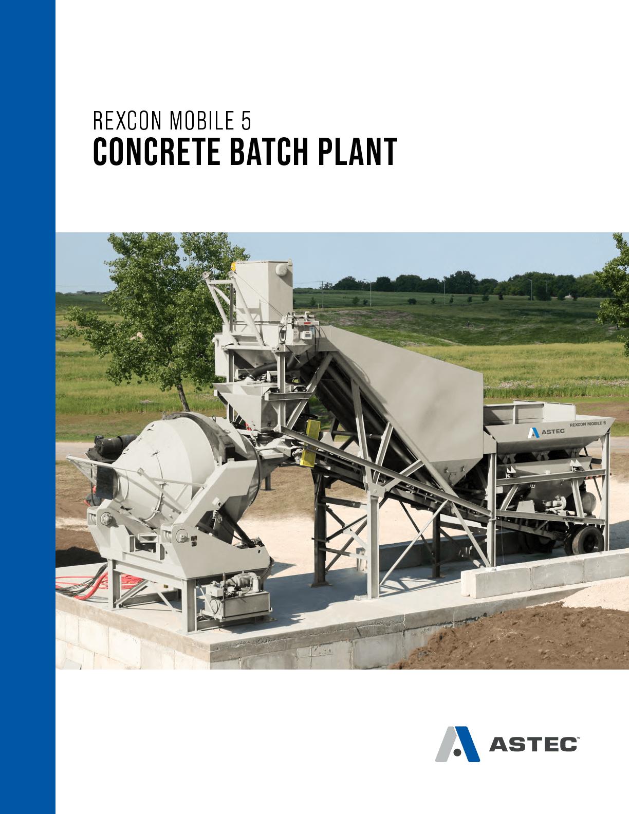 Astec Rexcon Mobile 5 Concrete Batch Plant Brochure Cover