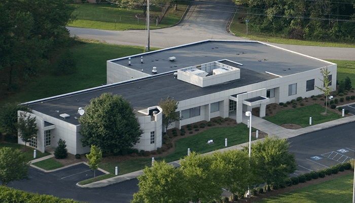 Aerial photo of a corporate headquarter building