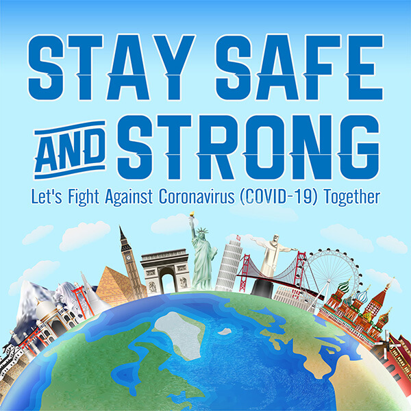 Global landmarks standing in unity promoting fighting COVID-19 together.