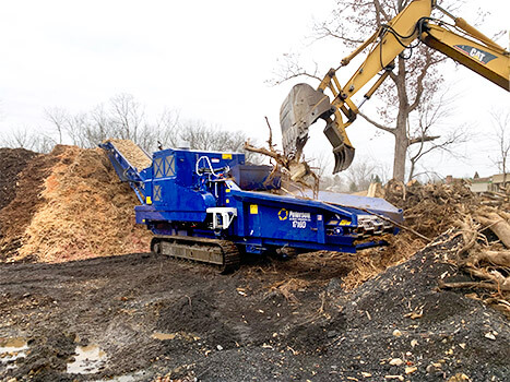 1710D Horizontal Grinder Making Mulch from Stumps